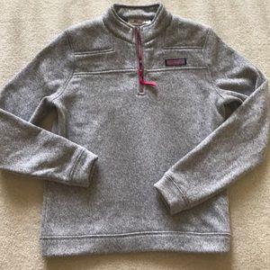 Vineyard Vines Shirts & Tops - Vineyard Vines Half Zip Pullover Gray Pink Girls